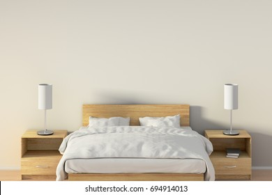 Blank wall in bedroom with wooden bed. 3d illustration