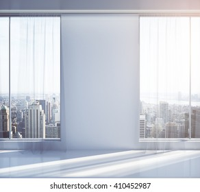 Blank wall in empty interior with New York city view and sunlight. Mock up, 3D Rendering
