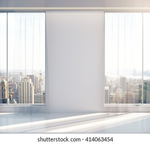 Blank wall in empty sunlit interior with New York city view. Mock up, 3D Rendering