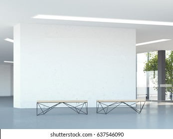 Blank wall in the modern office hall with two benches. 3d rendering