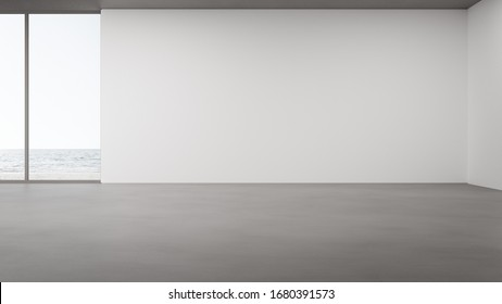 Blank wall on empty concrete floor of large living room in modern house or luxury hotel. Minimal home interior 3d rendering with beach and sea view.