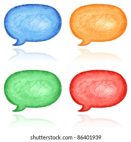 Blank watercolor speech bubble dialog shape. Variation color with reflection on white background