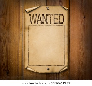 Blank western wanted poster illustration on wooden background