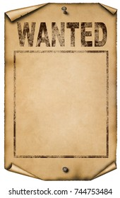 Blank western wanted poster illustration. Isolated on white background.