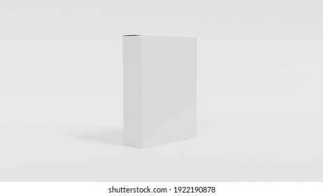 Blank white 3d render box packaging template for mockup. Great for presenting and advertising your product.