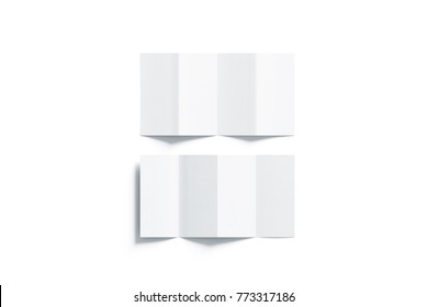 Blank white accordion booklets mockups set, opened top view, 3d rendering. Plain brochures mock ups set isolated. Book cover flier inside, front and back side, copy space.