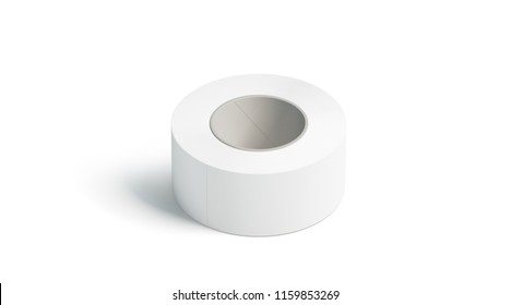 Blank white adhesive tape mockup, lying isolated, 3d rendering. Clear sticky duct tape mock up. Plain scotch taping template. Masking band for repair stickers