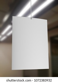 Blank White Advertising ceiling dangler for design presentation . 3d render illustration.