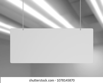 Blank White Advertising ceiling Promotional Advertising dangler for design presentation . 3d render illustration.