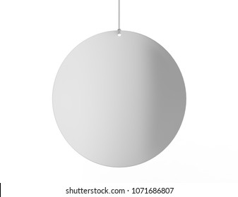 Blank White Advertising paper or PVC hanging plastic shelf dangler for shopping centers. 3d render illustration.