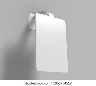 Blank White Advertising PVC shelf wobbler plastic shelf dangler for shopping centers. 3d render illustration.