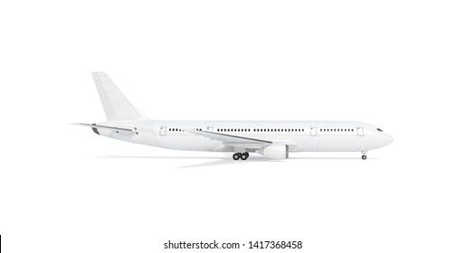 Blank white airplane mockup stand, profile view, 3d rendering. Clear fuselage with portholes in airliner mock up sideview. Empty boeing model chassis opened. Clean air bus with tail and wings.