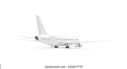 Blank white airplane mockup stand, backside view isolated, 3d rendering. Clear aerobus tailplane mock up template. Empty aeroplane model with empennage. Clean aircraft fin mock-up.