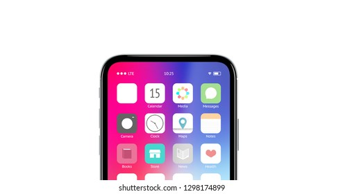 Blank white app button on phone screen mockup, 3d rendering. Empty application logo mock up. Clear buton for program or store template. Display with new icon design.