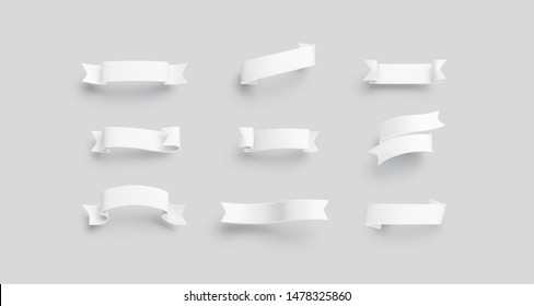 Blank white banderole mock up set, isolated, 3d rendering. Empty octoberfest emblem mockup, different types. Clear decorate ribbon for christmas or jubilee heading template.