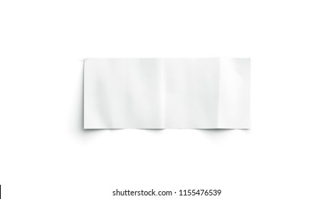 Blank white banknote mockup, isolated, top view, 3d rendering. Empty paper money mock up. Clean crumpled bank note bill template. Clear ticket bond cash design