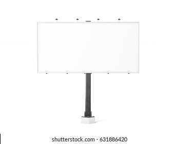 Blank white banner mock up on city billboard, 3d rendering. Empty bill board mockup isolated. Clear canvas template on street sign. Large outdoor poster screen. Big cityboard signage stand.
