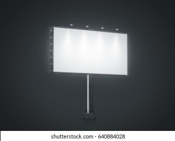 Blank white banner mock up on city billboard at night, 3d rendering. Empty bill board mockup isolated. Clear light canvas on street sign. Large outdoor poster screen. Big illuminated cityboard signage