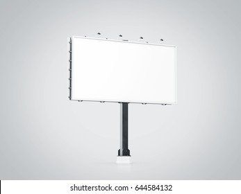 Blank white banner mock up on city billboard, 3d rendering. Empty bill board mockup isolated perspective view. Clear canvas template on sity street sign. Outdoor poster screen. Cityboard signage stand