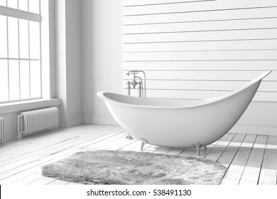 Blank white bathroom with large windows, wooden floors and a large bathtub. Minimalistic loft bathroom mockup. 3d render high quality image.