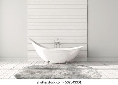 Blank white bathroom with wooden floors, carpet and a large bathtub. Minimalistic loft bathroom mock up. 3d render high quality image.