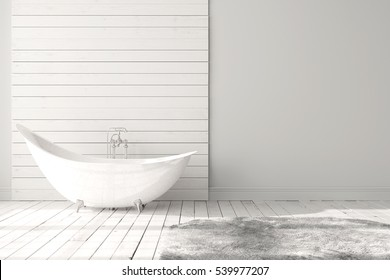 Blank white bathroom with wooden floors, carpet and a large bathtub. Minimalistic loft bathroom mock-up. 3d rendering high quality image.