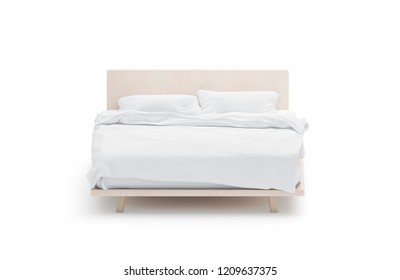 Blank white bed mockup, front view, isolated, 3d rendering. Empty tucked bedstead with pillows and blanket mock up. Clear bedclothes template. Place for sleep with mattress, pilow and duvet.