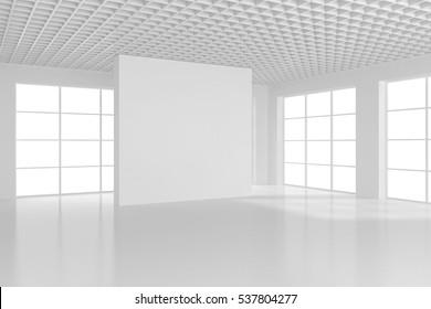 Blank white billboard in empty room with big windows, mock up, 3D Rendering.