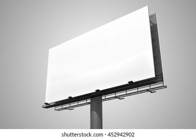 Blank white billboard on gray background. 3D rendered illustration.