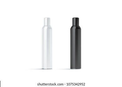 Blank white and black closed hairspray bottle mockup, 3d rendering. Empty deodorant mock up isolated. Clear stainless aerosol container template