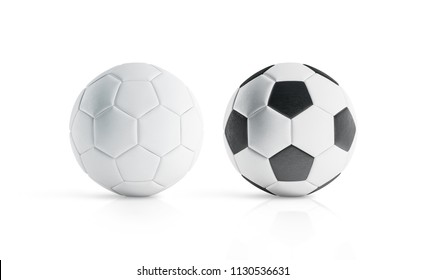 Blank white and white with black polygons soccer ball mockup, 3d rendering. Empty football sphere mockup, isolated. Clear sport ball for playing on the clean field template