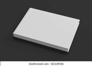 Blank white book cover on black background. Isolated with clipping path. 3d render