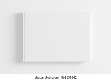 Blank white book cover on white background. Isolated with clipping path. 3d render