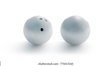 Blank white bowling ball mockup, front and back side view, 3d rendering. Empty bowl game sphere mock up, isolated. Clear leisure sport equipment design template. Plain shiny orb with 3 holes