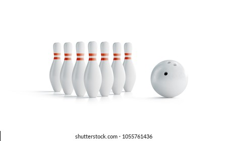 Blank white bowling skittles full set with ball mock up, side view, 3d rendering. Empty bowl game pins mockup, isolated. Clear leisure sport equipment design template. Plain targets for activity