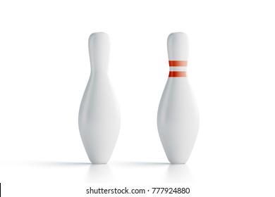 Blank white bowling skittles mockup, front view, 3d rendering. Empty bowl game pin mock up, isolated. Clear leisure sport equipment design template. Plain targets for recreation activity