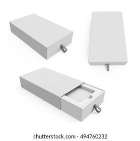 Blank white box with rope in 3 different views. Box for smartphones, software and other things. Mockup. 3D illustration