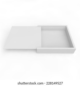 Blank white box with sliding lid for gifts, products and other goods