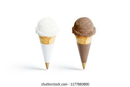 Blank white and brown ice cream cone mockup set, isolated, 3d rendering. Empty vanila and chocolate gelato packing mock up, side view. Clear conic with tasty icecream template. Wafle pack label design