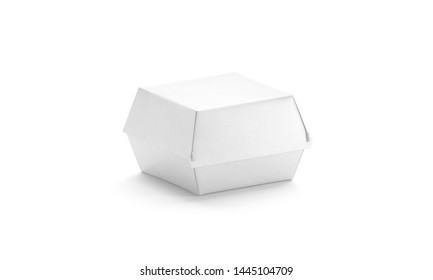 Blank white burger box mockup, isolated, side view, 3d rendering. Empty paperboard wrapping mockup for veggie hamburger. Clear disposable takeout package for chicken wings template.