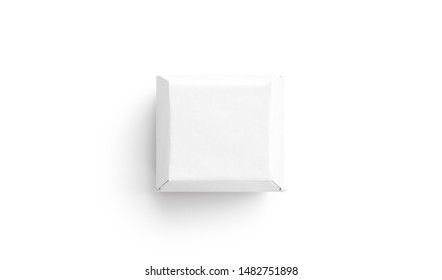 Blank white burger carton box mock up, isolated, top view, 3d rendering. Empty pasteboard container mockup. Clear eco-friendly lunch boxed for logotype template.