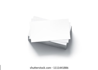 Blank white business card stack mocks up, 3d rendering. Pile busines namecard design mockup. Visiting clear papers top view. Calling papersheet template for company name, phone number, email address.