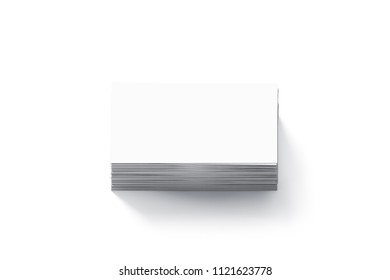 Blank white business cards flat stack mock up, 3d rendering. Namecard design mockup. Visiting clear papers top view. Calling papersheet template for company name, phone number, email address.