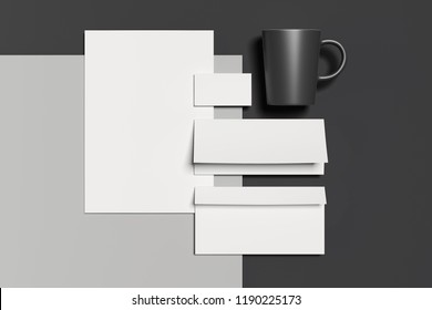 Blank white business stationery mock-up, template for branding identity with black mug on dark background. 3D rendering.