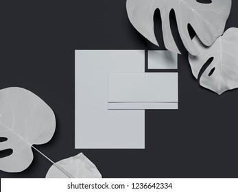 Blank white business stationery mock-up, template for branding identity on dark background. 3D rendering.