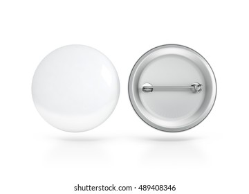 Blank white button badge mockup, front and back side, 3d rendering. Empty clear pin emblem mock up. Round plastic volunteer label. Vote sign design template. Campaigning badges display.