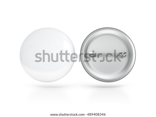 Blank White Button Badge Mockup Front Stock Illustration 489408346