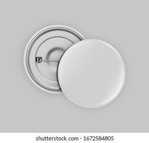 Blank white button badge stack mockup, isolated on grey