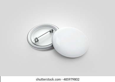 Blank white button badge stack mockup, isolated on grey, clipping path, 3d rendering. Empty clear pin emblem mock up. Round plastic volunteer label. Vote sign design template. Campaign badges display.
