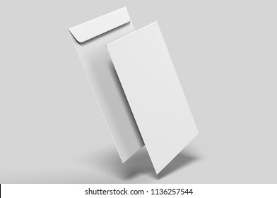 Blank  white C4 envelope  mock-up, blank template. 3d render illustration.